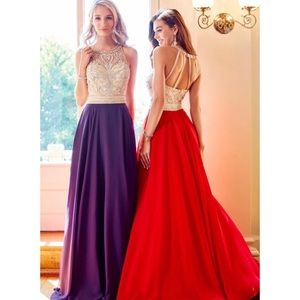 CLARISSE Eggplant Prom Dress with Beaded Top